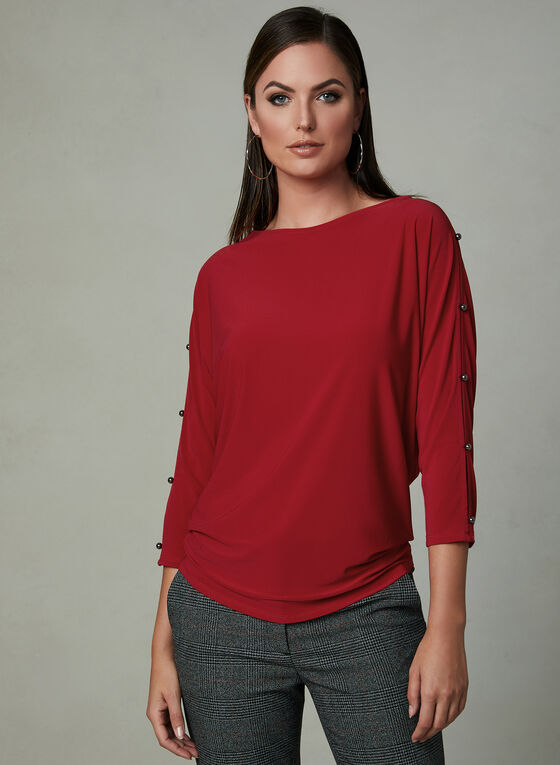 Split Dolman Sleeve Top, Red, hi-res