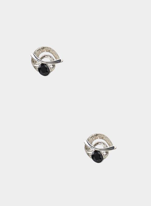 Clous d'oreilles ronds en métal, Noir