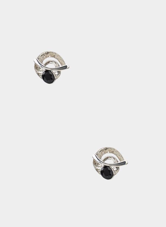 Brushed Metal Stud Earrings, Black, hi-res