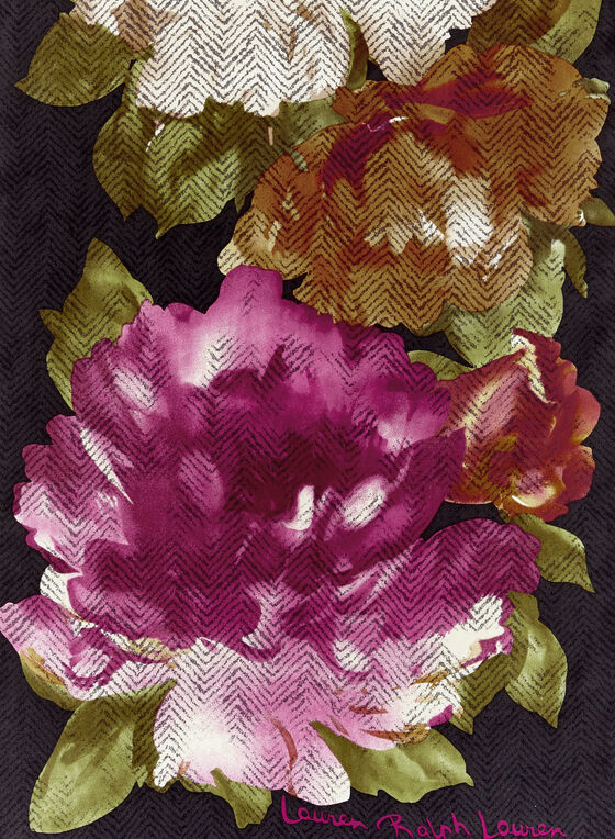 Foulard oblong léger à fleurs, Noir, hi-res
