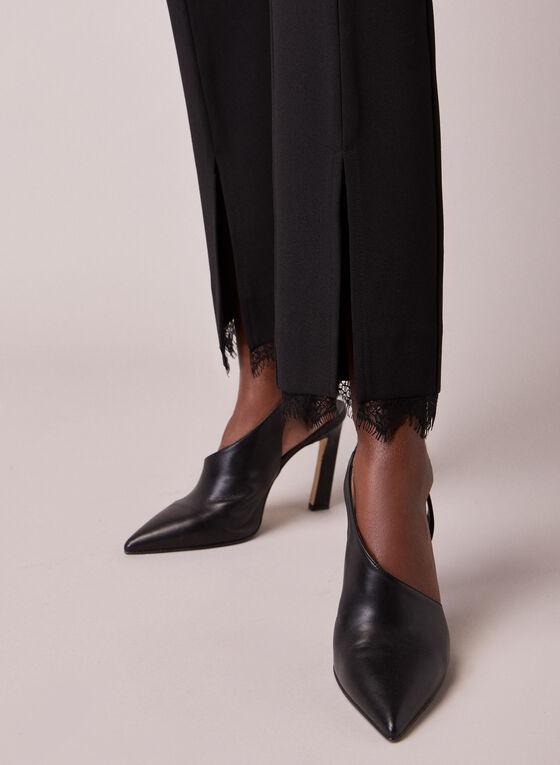 Pantalon étroit à détails dentelle, Noir