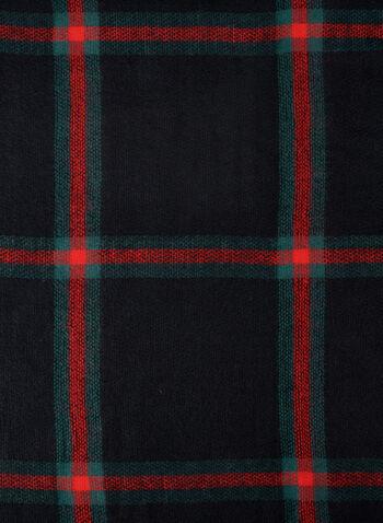 Écharpe carrée en tartan, Noir, hi-res
