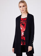 Long Open Front Knit Cardigan, Black, hi-res
