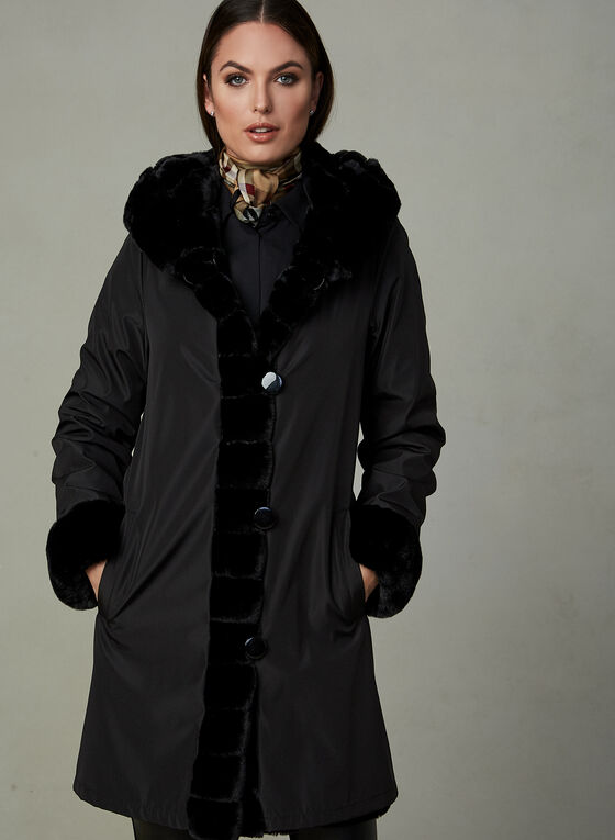 Nuage - Reversible Faux Fur Coat, Black, hi-res