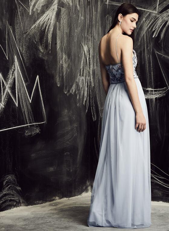 Adrianna Papell - Robe à broderies florales et bretelles, Bleu, hi-res