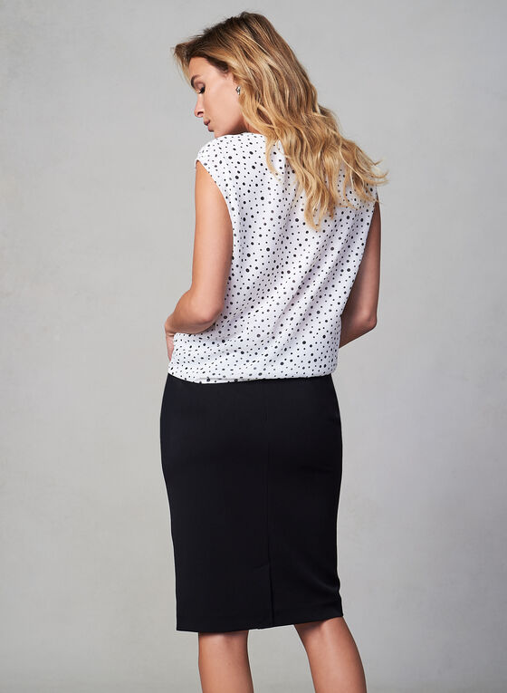 Chiffon Polka Dot Print Blouse, White