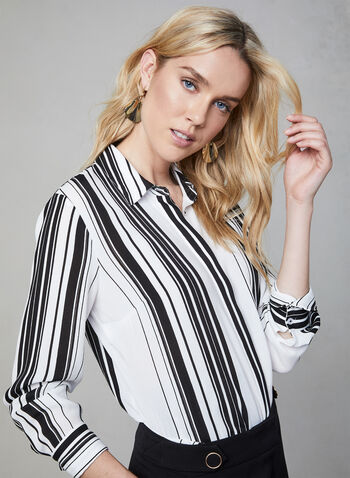 Stripe Print Long Sleeve Blouse, White, hi-res,  blouse, long sleeves, stripe print, button down, fall 2019