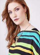 Conrad C - Stripe Print Layered Kimono Blouse, Green, hi-res