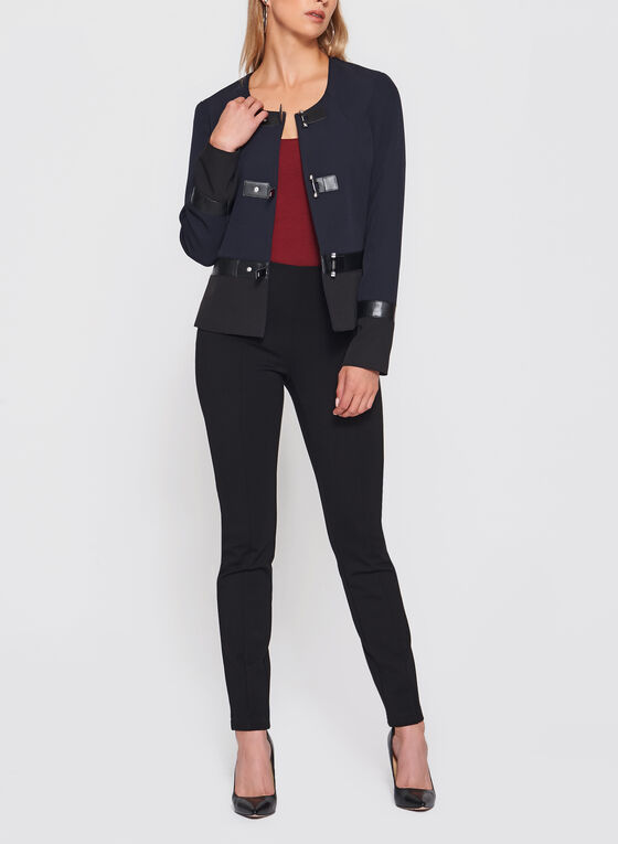 Vex - Faux Leather Trim Blazer, Black, hi-res