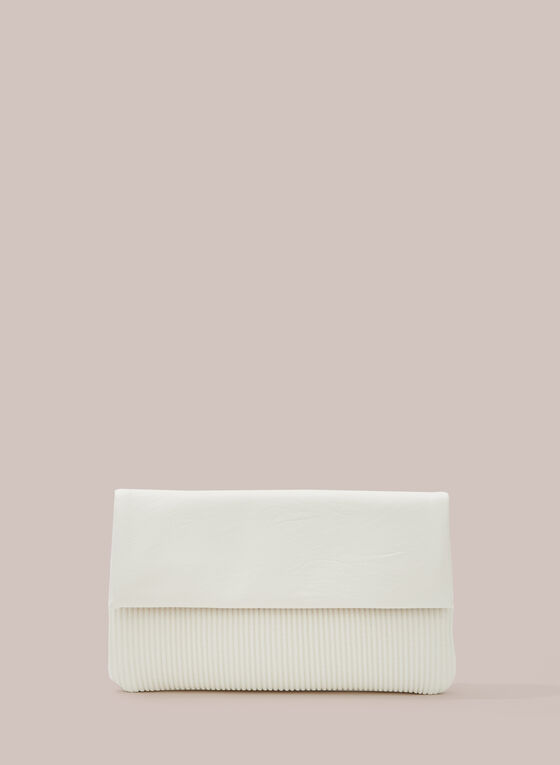 Pleated Detail Faux Leather Clutch, White