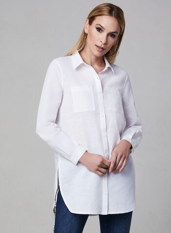 Linen Tunic Blouse, White, hi-res,  shirt, pockets, long sleeves, linen, spring 2019