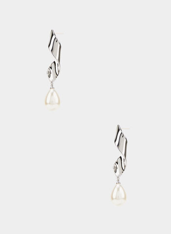 Twist Dangle Pearl Earrings, Off White,  dangle earrings, metal twist, pearl, fall 2019