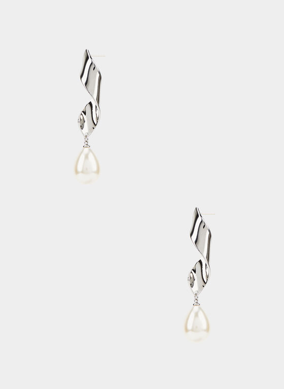 Twist Dangle Pearl Earrings, Off White, hi-res
