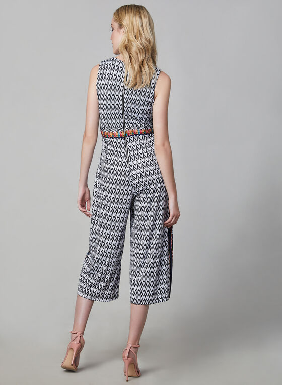 Aztec Print Jumpsuit, Black, hi-res