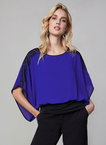 Kimono-Like Blouse, Blue, hi-res,  top, blouse, kimono, lace, detail, scoop neck, kimono sleeves, wide sleeves, fall 2019, winter 2019