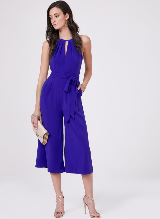 Vince Camuto - Cropped Wide Leg Jumpsuit, Blue, hi-res