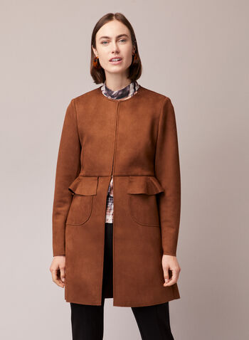 Faux Suede Redingote, Brown,  jacket, redingote, faux suede, long sleeves, fall winter 2020