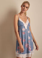 Comfort & Co. - Floral Print Lace Detail Nightgown, Blue