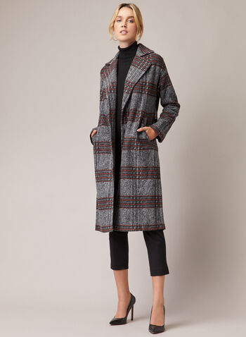 Tartan Print Coat, Grey,  fall winter 2020, coat, wool-like, tartan, long