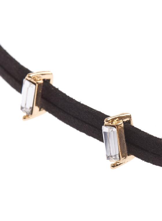 Velvet Crystal Choker Necklace , Gold, hi-res