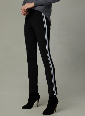 Pantalon à jambe étroite et bandes contrastantes, Noir, hi-res