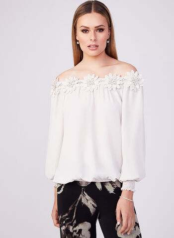 Joseph Ribkoff - Lace Appliqué Blouse, Off White, hi-res