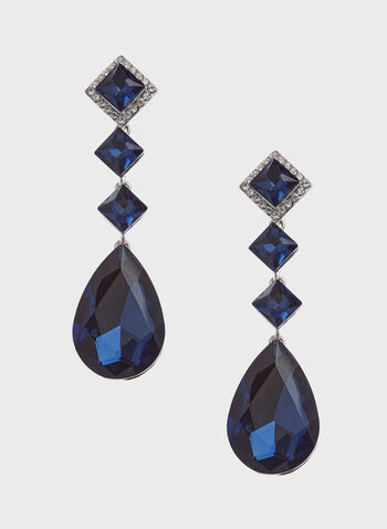 Four-Tier Faceted Stone Drop Earrings , Blue, hi-res