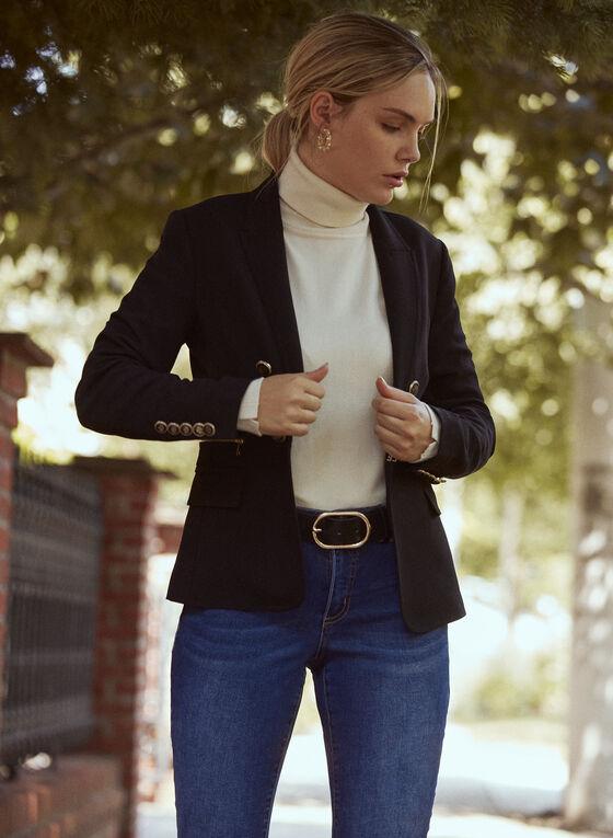 Studded Knit Turtleneck, Off White