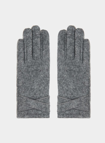 Crisscross Detail Wool Gloves, Grey, hi-res