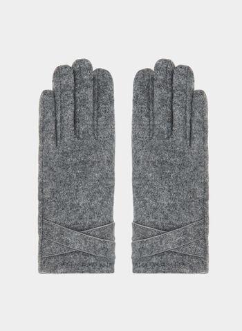 Gants en laine à détail croisé, Gris, hi-res