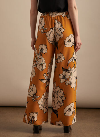 Floral Print Wide Leg Pants, Yellow,  pants, pull-on, wide leg, floral, crepe, pockets, elastic waist