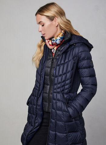 Bernardo - Mid-Length Packable Coat, Blue, hi-res,  cruelty free, water resistant, mid-length, hood, packable, vest, long sleeves, fall 2019, winter 2019