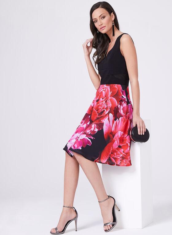 Frank Lyman - Robe avec jupe fleurie et détails en maille, Rouge, hi-res
