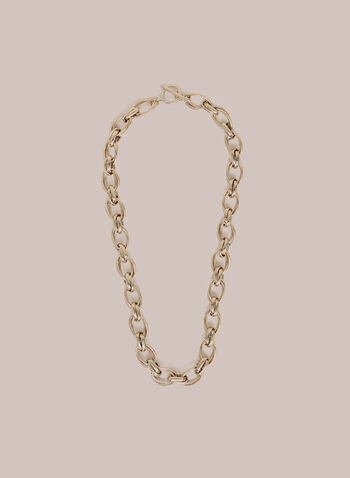 Oval Link Chain Necklace, Gold,  necklace, oval necklace, link chain necklace, metallic, metallic necklace, spring 2020, summer 2020