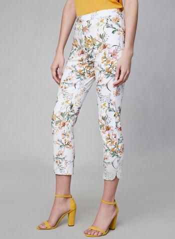 Capri à imprimé floral, Blanc, hi-res,  Canada, pantacourt, pantalon 3/4, pantalon ¾, fleurs, motif, printemps été 2019