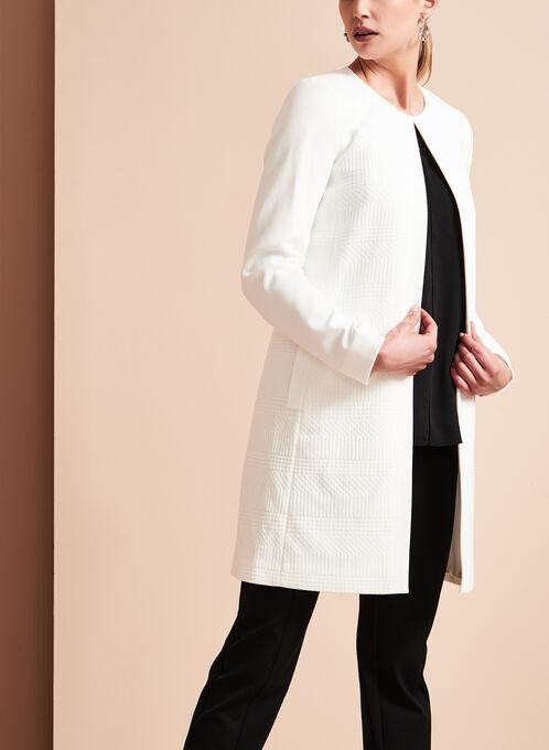 Tahari - Veste texturée en tricot jacquard, Blanc cassé, hi-res
