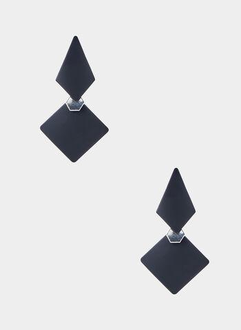 Diamond Shape Pendant Earrings, Black,  long earrings