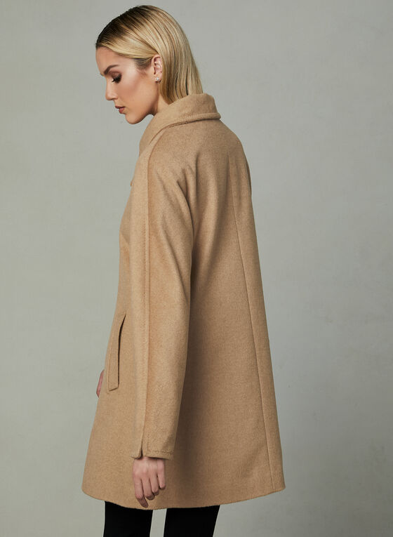 Karl Lagerfeld Paris - Stand Collar Wool Coat, Brown