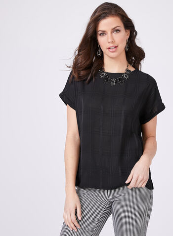 Lily Moss – Geometric Print Top, Black, hi-res