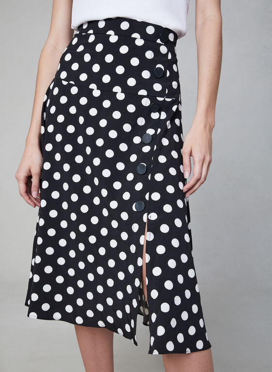 Polka Dot Print Midi Skirt, Black