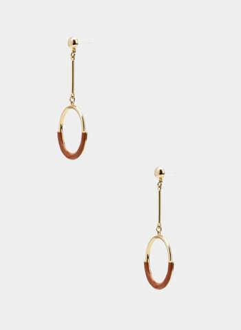 Boucles d'oreilles à pendants circulaires, Brun, hi-res,  métallisé, métallique, deux tons, automne hiver 2019