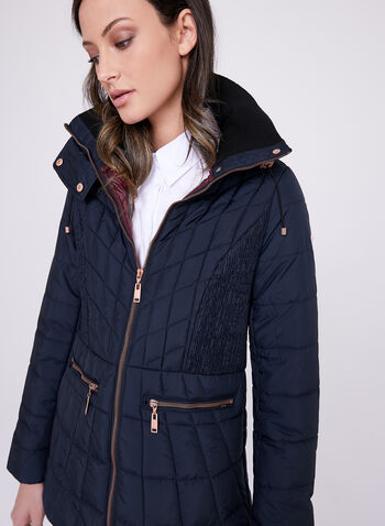 Novelti - Faux Down Packable Coat, Blue, hi-res
