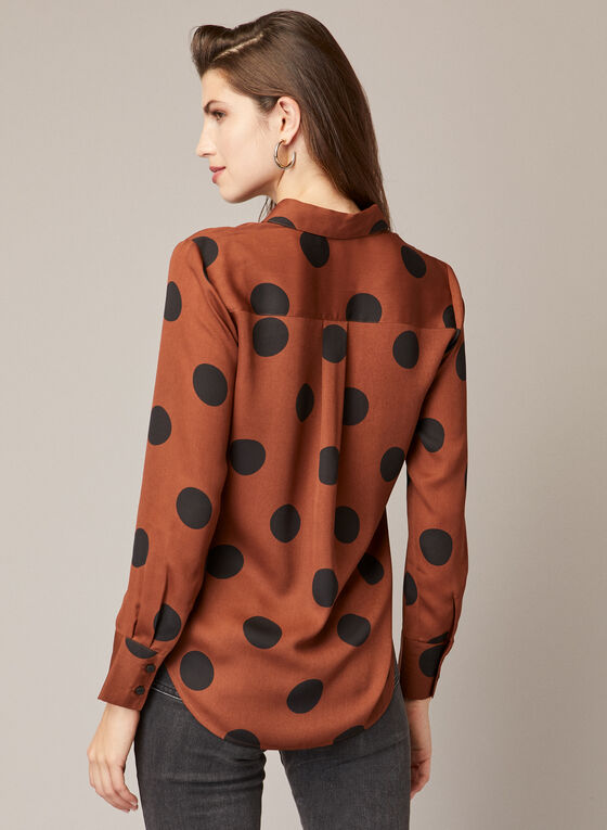 Oversized Polka Dot Blouse, Brown