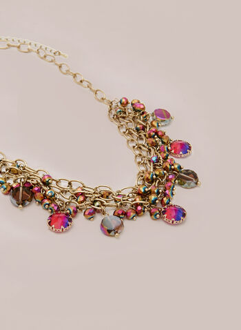 Multi Chain Mesh Necklace , Pink,  fall winter 2020, necklace, mesh, multi-colour, beads, metal
