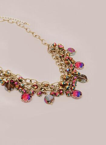 Collier à mailles et chaînes multiples, Rose,  automne hiver 2020, collier, bijou, chaîne, pierres, billes, multicolore