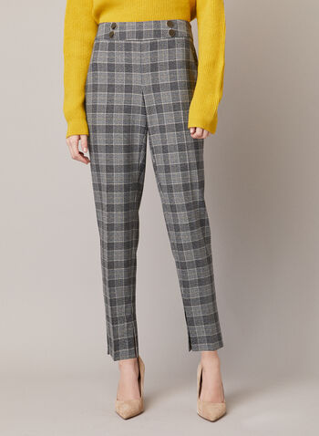 Slim Leg Amber Pants, Brown,  fall winter 2020, pants, tartan print, buttons, oversized, golden-tone, slim leg, bi-stretch