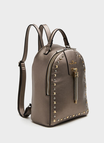 Céline Dion - Studded Faux-Leather Backpack Purse, Grey, hi-res