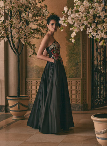 Embroidered Bustier Ball Gown, Black,  prom dress, ball gown, bustier, floral, rhinestones, embroidery, satin, crinoline, lace-up, pockets, spring summer 2021