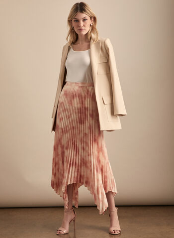 Vince Camuto - Pleated Handkerchief Hemline Skirt, Pink,  skirt, pleated, abstract, chiffon, handkerchief hemline, spring summer 2020