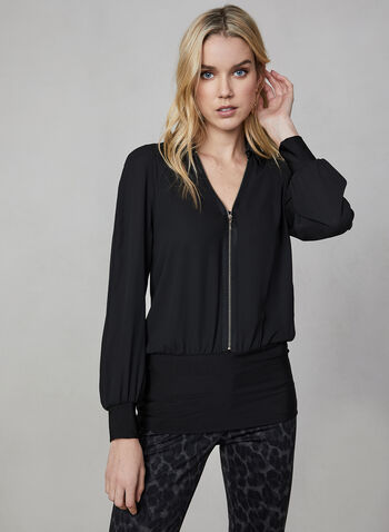 Zip Detail Blouse, Black,  blouse, top, muslin blouse, zipper, jersey top, blouse, collar, fall 2019, winter 2019